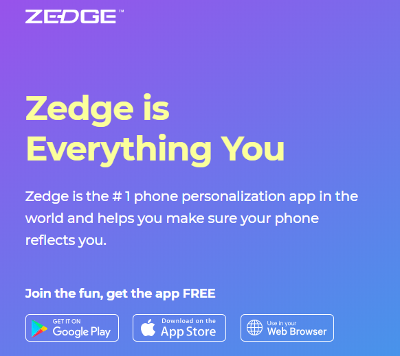 Zedge application