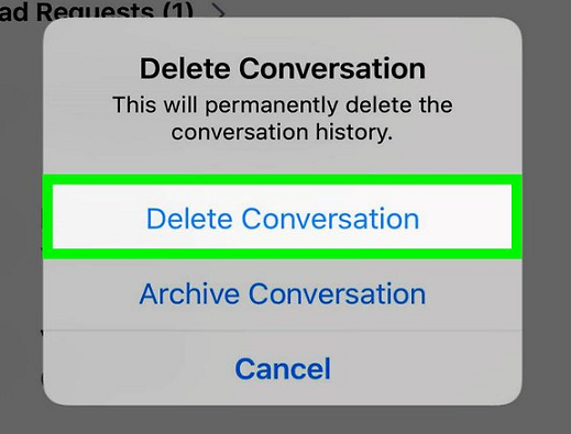delete message conversation in iphone