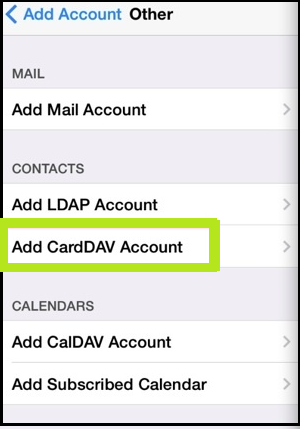 select the add CardDAV account.