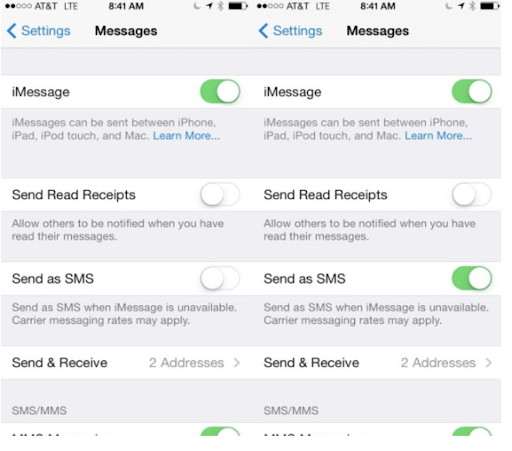Enable Send as SMS