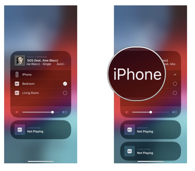 How to stop AirPlay audio from iOS device including iPhone, iPad