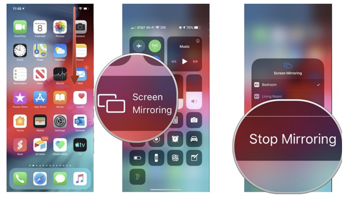 How to stop AirPlay video from iOS devices including iPhone, iPad