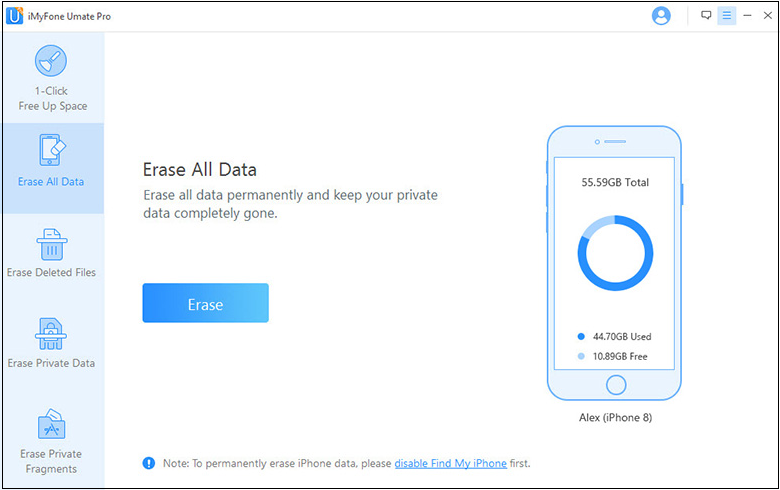 erase all data in imyfone