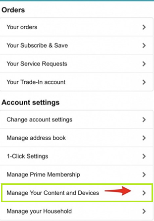 manage account in amazon
