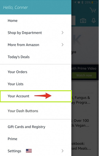 tap on your account in amazon