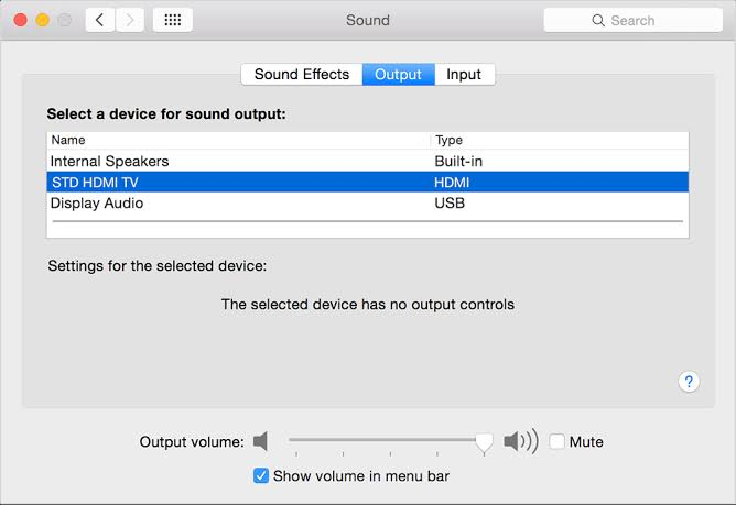 Change sound output from a Mac to a TV through HDMI
