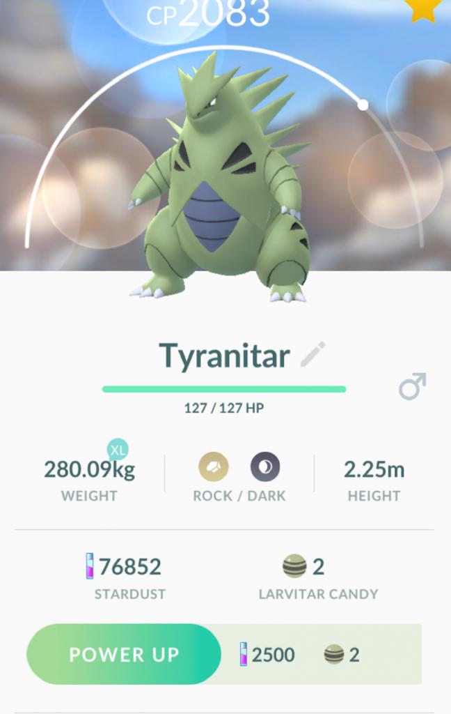 Pokemon Go moveset for Tyranitar