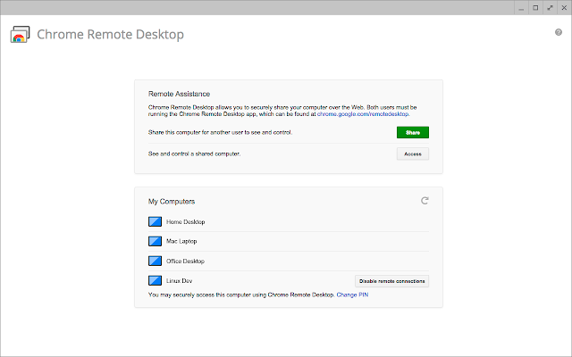 Use Chrome Remote Desktop Service