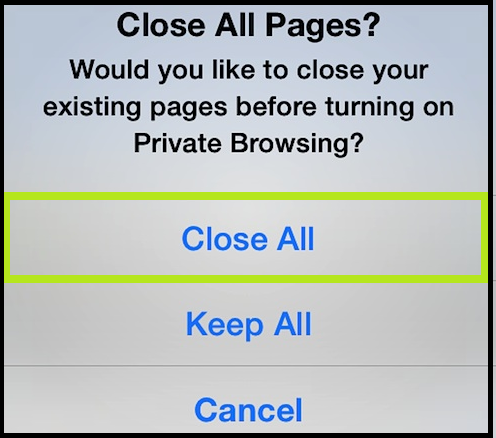 close all tab in safari