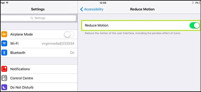 Enable Reduce Motion option