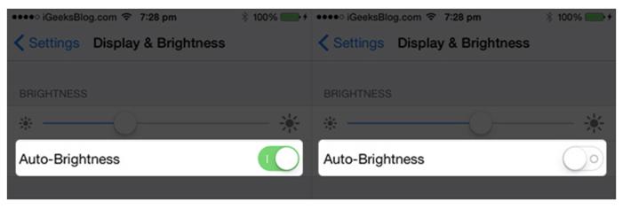 Switch off the Auto brightness