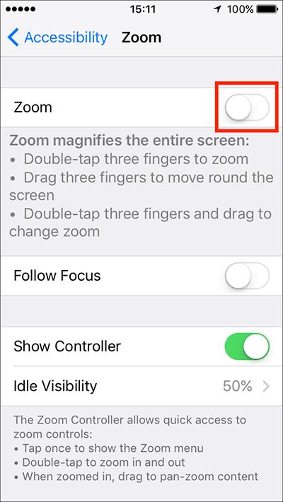 Turn Off Zoom
