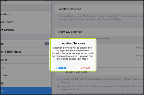 Turning off the Location Services