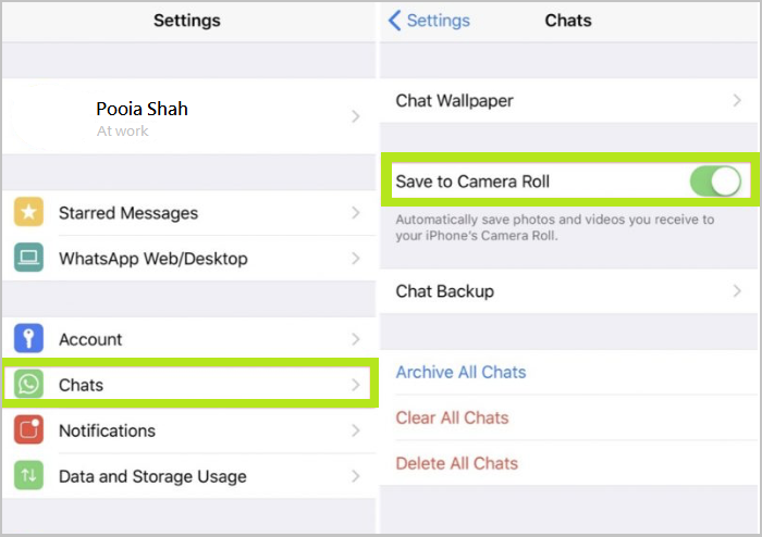 stop WhatsApp from saving media files to iPhone