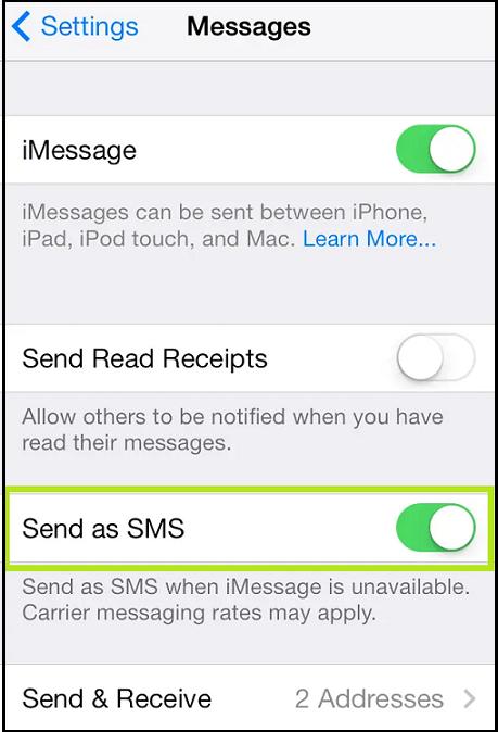 tutn on send as sms