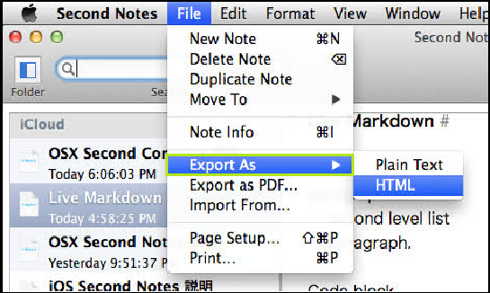 Export Notes in macOS X
