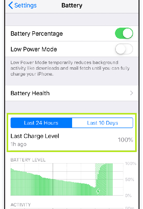 battery show in iphone