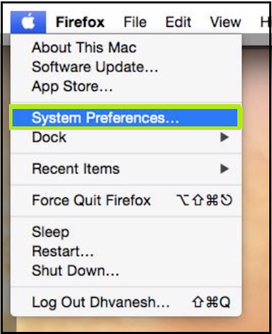 click on the System Preference