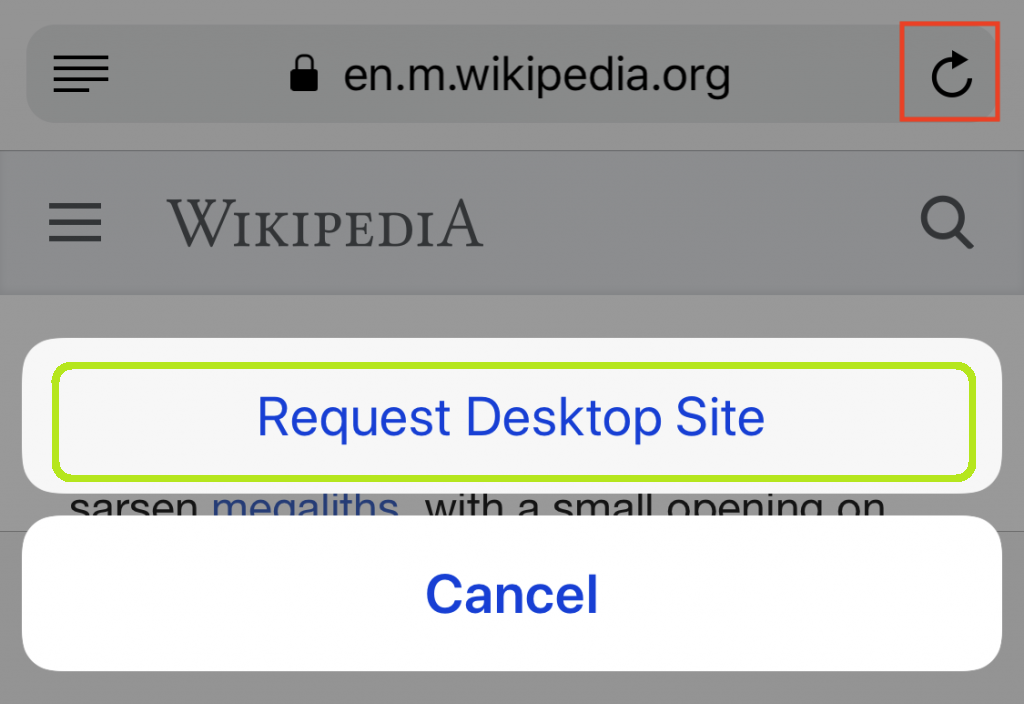 "search for "" Request Desktop Site"