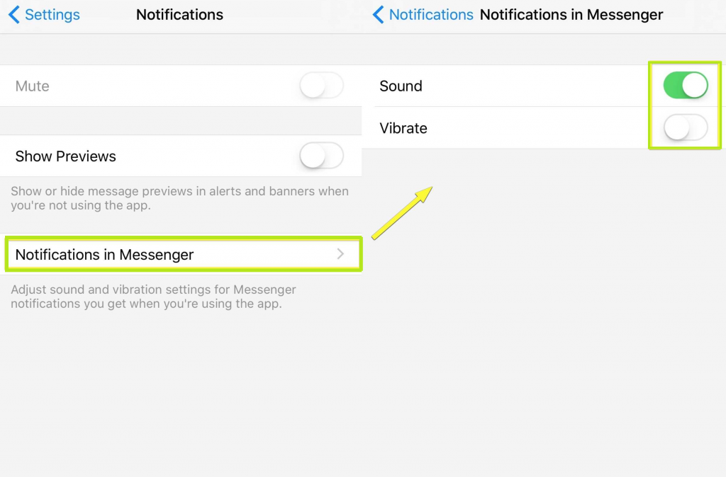 settings of the Messenger app in iphone