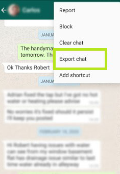 Export Chat option on WhatsApp