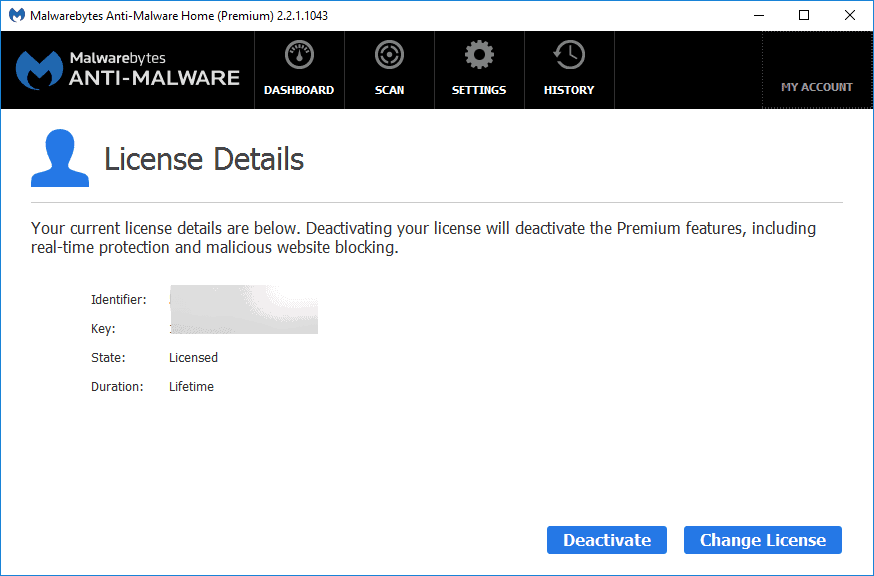 Malwarebytes License Key details