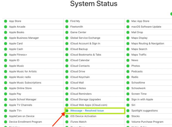 Check iMessage Server status