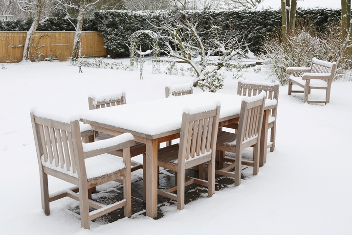 Snow Covered Chairs in Winter