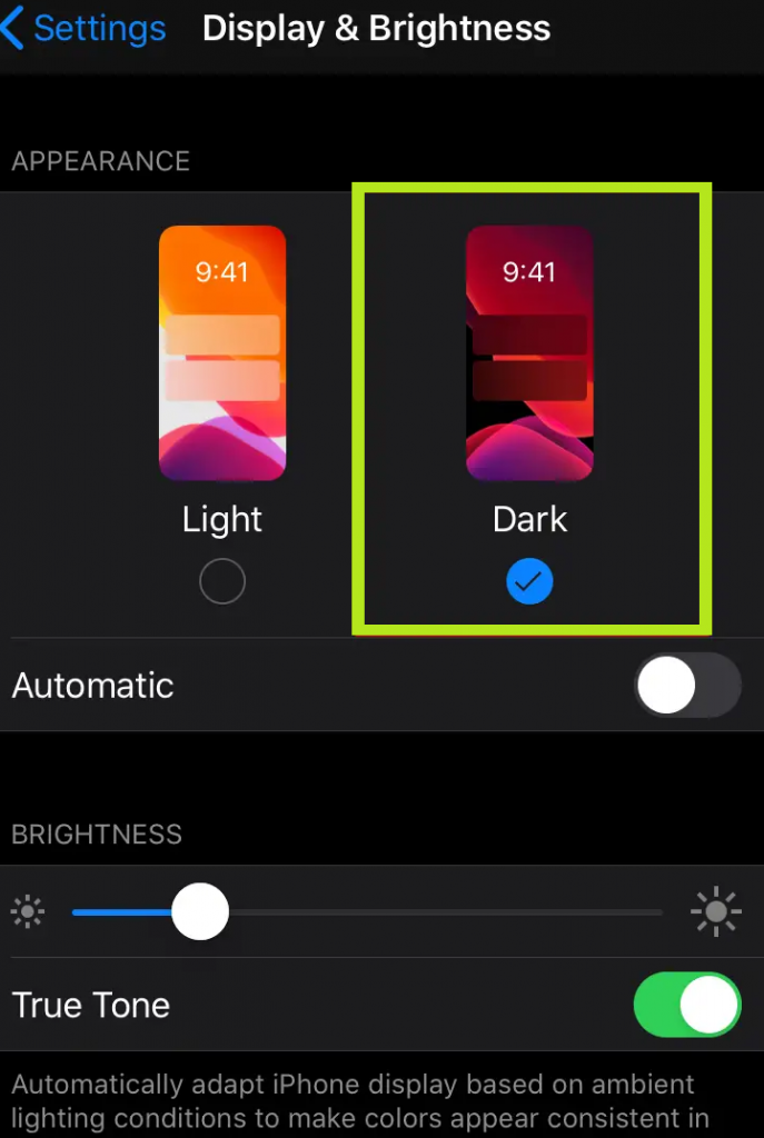 enable dark mode in iphone setting